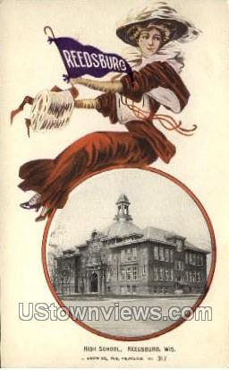High School - Reedsburg, Wisconsin WI Postcard