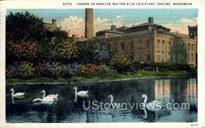 Lagoon At Horlick Malted Milk Co. - Racine, Wisconsin WI Postcard