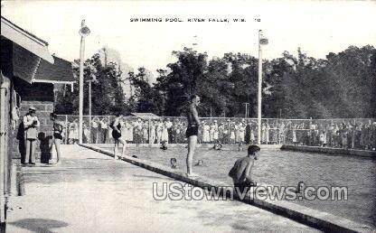 Swimming Pool - River Falls, Wisconsin WI Postcard