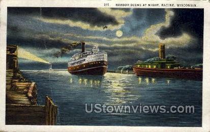 Harbor At Night  - Racine, Wisconsin WI Postcard