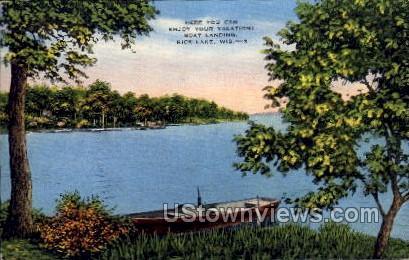 Boat Landing  - Rice Lake, Wisconsin WI Postcard