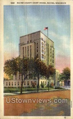 Racine County Court House - Wisconsin WI Postcard
