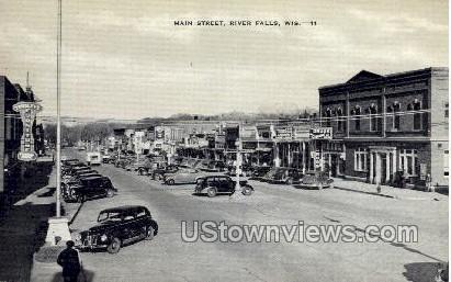 Main Street - River Falls, Wisconsin WI Postcard