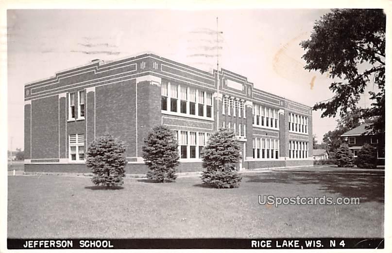 Jefferson School - Rice Lake, Wisconsin WI Postcard