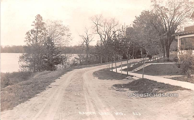 Road Scene - Random Lake, Wisconsin WI Postcard