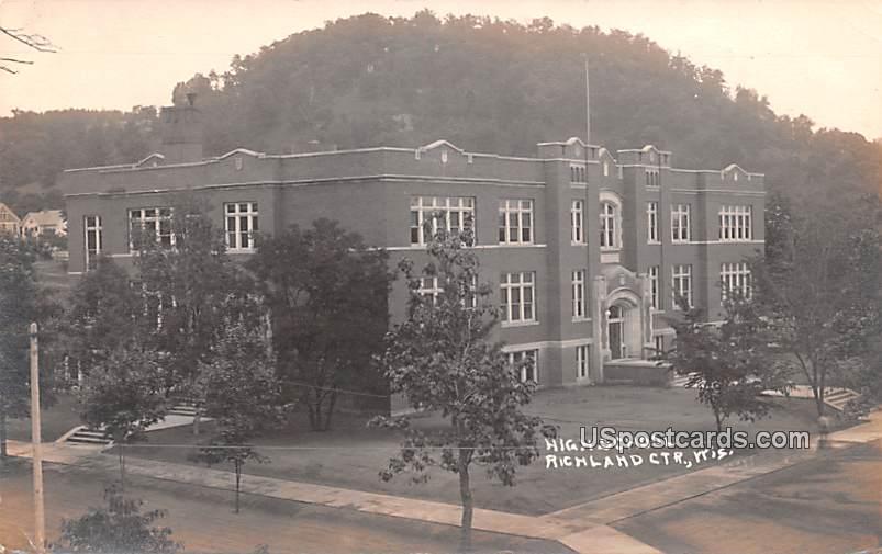 High School - Richland, Wisconsin WI Postcard