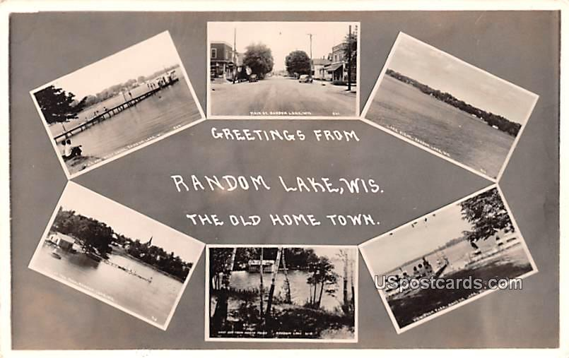 Greetings from - Random Lake, Wisconsin WI Postcard