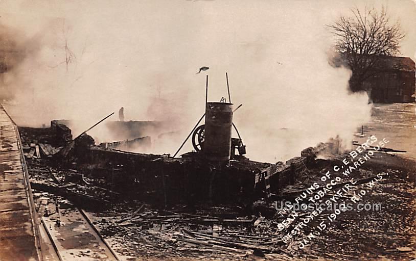 Ruins of CE Beag's Bean & Tobacco Warehouse - Rio, Wisconsin WI Postcard