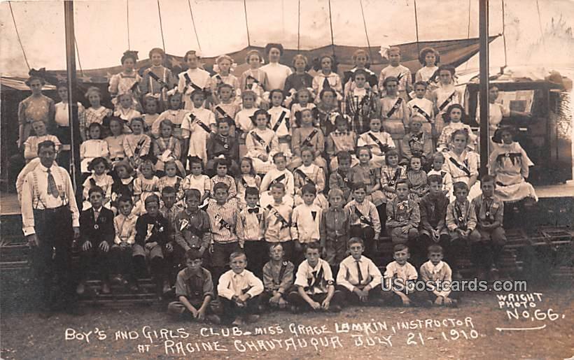 Boy's and Girls Club - Racine Chautauqua, Wisconsin WI Postcard