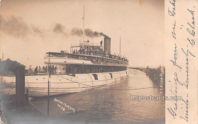 Racine Harbor - Wisconsin WI Postcard
