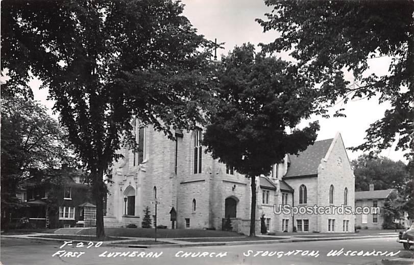 First Lutheran Church - Stoughton, Wisconsin WI Postcard