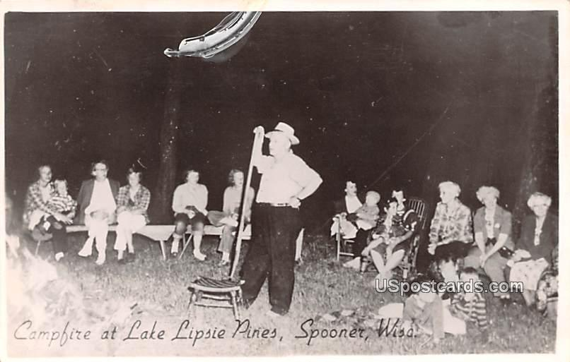 Campfire at Lake Lipsie Pines - Spooner, Wisconsin WI Postcard