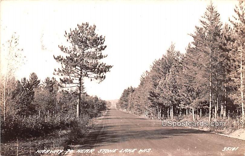 Highway - Stone Lake, Wisconsin WI Postcard