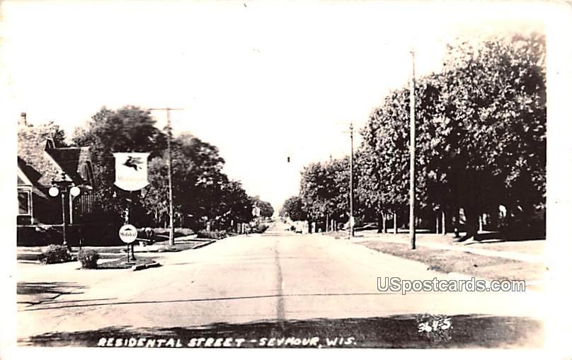Residential Street - Seymour, Wisconsin WI Postcard