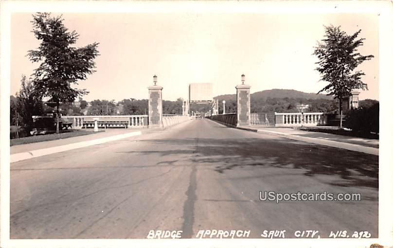 Bridge Approach - Sauk City, Wisconsin WI Postcard