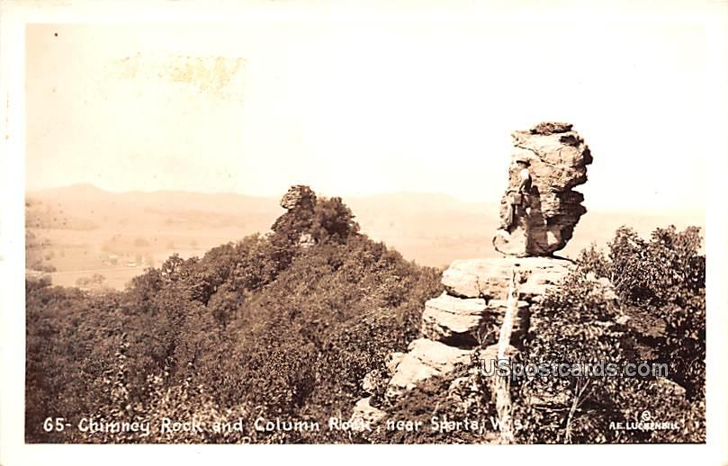 Chimney Rock and Column Rock - Sparta, Wisconsin WI Postcard