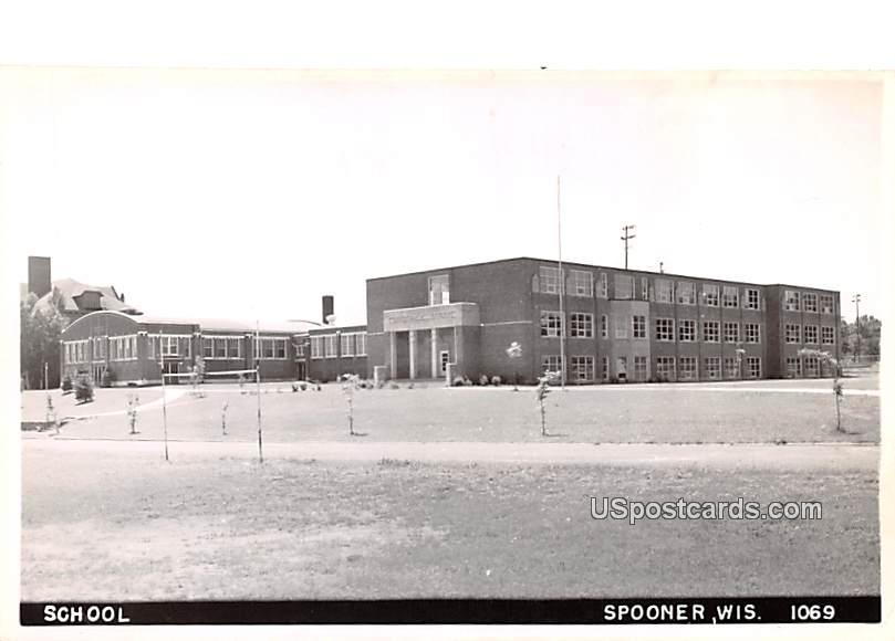 School - Spooner, Wisconsin WI Postcard