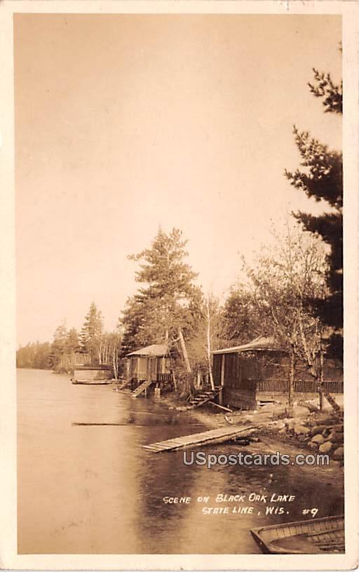 Scene on Black Oak Lake - State Line, Wisconsin WI Postcard
