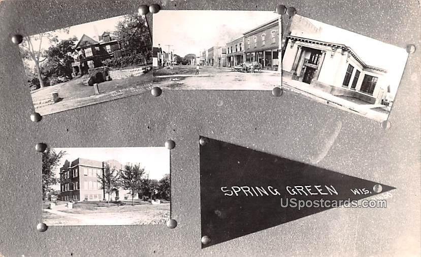 Home Building, High School, State Bank - Spring Green, Wisconsin WI Postcard