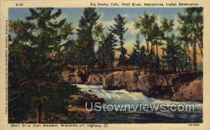 Big Smoky Falls - Shawano, Wisconsin WI Postcard