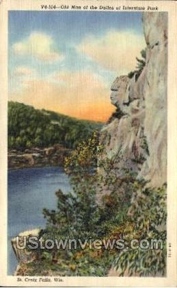 Old Man Of The Dalles - St. Croix Falls, Wisconsin WI Postcard