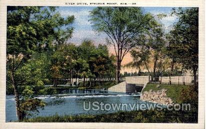 River Drive - Stevens Point, Wisconsin WI Postcard