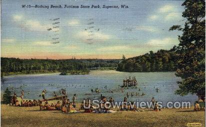 Bathing Beach, Pattison State Park - Superior, Wisconsin WI Postcard