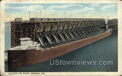 Allouez Ore Docks - Superior, Wisconsin WI Postcard