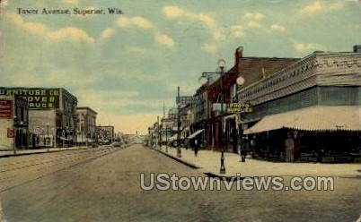 Tower Avenue - Superior, Wisconsin WI Postcard