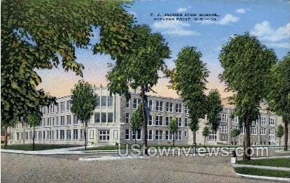 Jacobs High School - Stevens Point, Wisconsin WI Postcard
