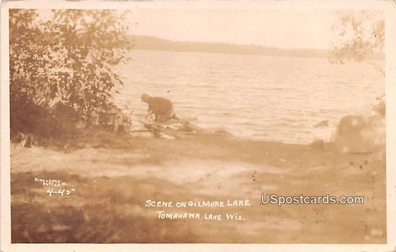 Scene on Gilmore Lake - Tomahawk Lake, Wisconsin WI Postcard