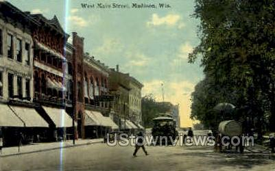 Main St. - Madison, Wisconsin WI Postcard