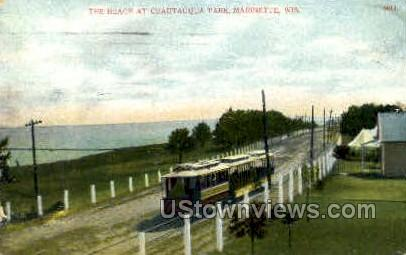 The Beach - Marinette, Wisconsin WI Postcard
