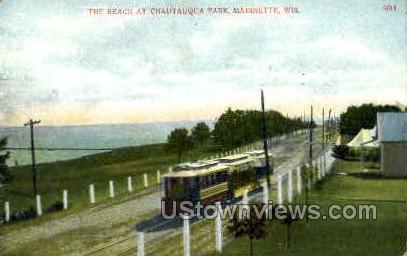 The Beach - Marinette, Wisconsin WI Postcard