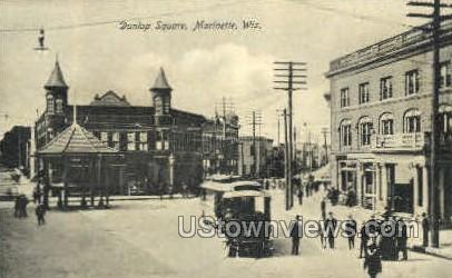 Dunlop Square - Marinette, Wisconsin WI Postcard