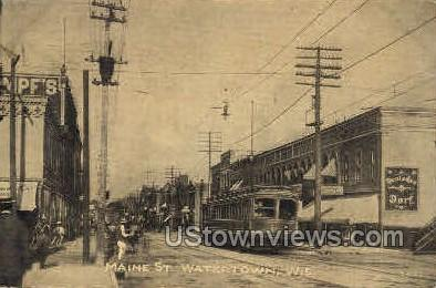 Maine St. - Watertown, Wisconsin WI Postcard