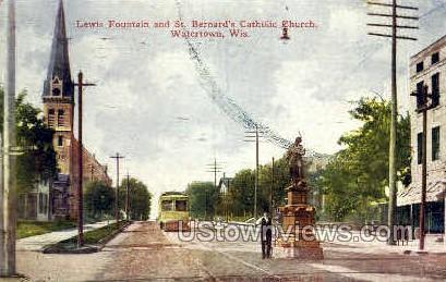 Lewis Fountain - Watertown, Wisconsin WI Postcard