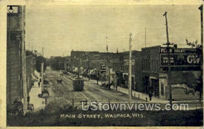 Main St. - Waupaca, Wisconsin WI Postcard