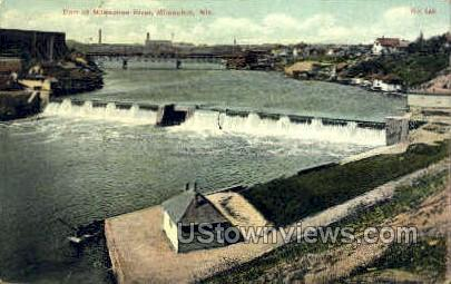 Dam at Milwaukee River - Wisconsin WI Postcard