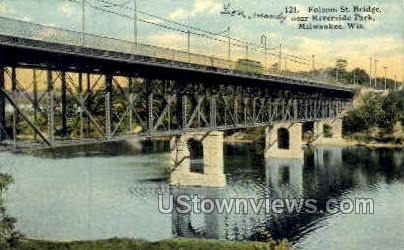 Folsom St. Bridge - MIlwaukee, Wisconsin WI Postcard