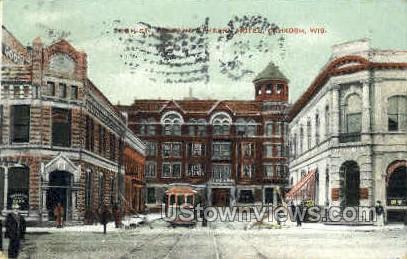 High St. & Athearn Hotel  - Oshkosh, Wisconsin WI Postcard