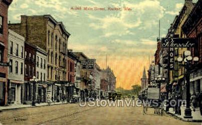 Main St. - Racine, Wisconsin WI Postcard