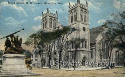 Grand Ave. M.E. Church - MIlwaukee, Wisconsin WI Postcard