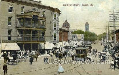 The Busy St. - Beloit, Wisconsin WI Postcard