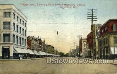 College Ave. - Appleton, Wisconsin WI Postcard