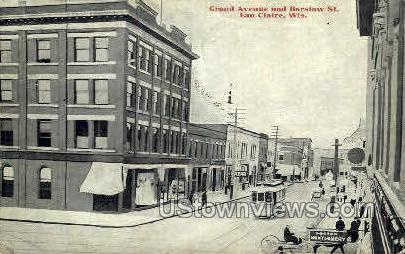 Grand Ave. & Barstow Sts. - Eau Claire, Wisconsin WI Postcard