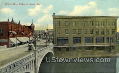 Barstow St. Bridge - Eau Claire, Wisconsin WI Postcard