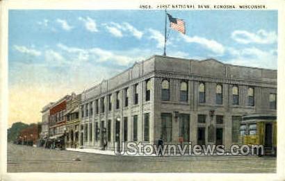 First National Bank - Kenosha, Wisconsin WI Postcard