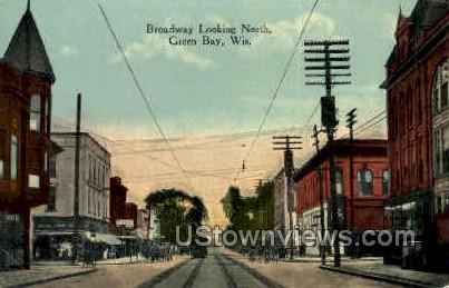 Broadway - Green Bay, Wisconsin WI Postcard