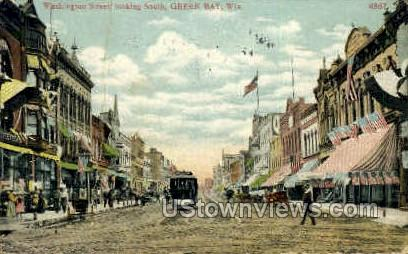 Washington St. - Green Bay, Wisconsin WI Postcard